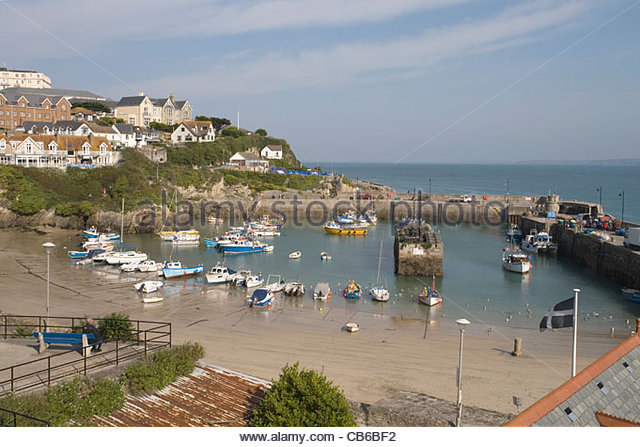 the famous north cornwall seaside and surfing town of newquay - Stock Image