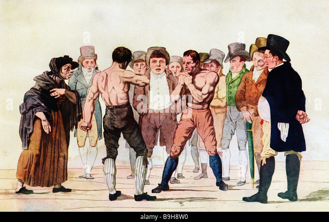 Bare Knuckle Boxing coloured print of Georgian pugilists shaping up before a small crowd - Stock Image