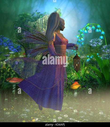 Fairy Laryn flies through the misty forest in the evening holding a bright lantern to light her way. - Stock Image