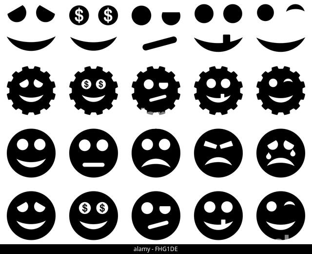 Tools, gears, smiles, emoticons icons - Stock Image