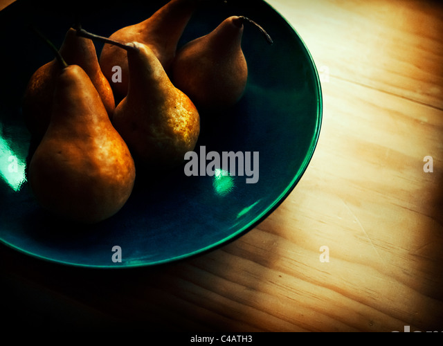Bowl of pears. - Stock Image