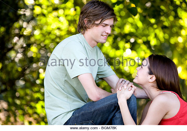 A romantic young couple outdoors - Stock-Bilder