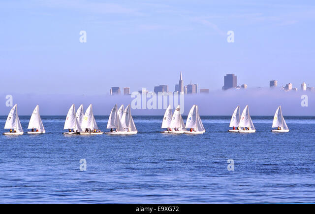 scenic view of young sailors training in hobbie cats on san Francisco Bay - Stock Image