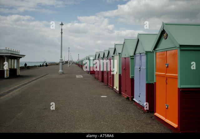 beach huts at Hove East Sussex England - Stock Image
