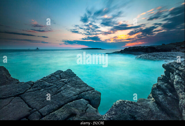 Sunset landscape in Istria. Rt kamenjak, Premantura. - Stock Image