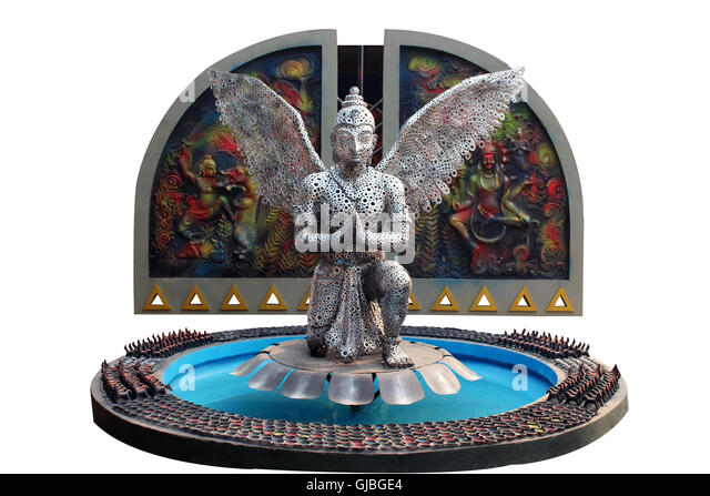 Abstract colorful statue of mythological subject. Mahabharat character. - Stock Image