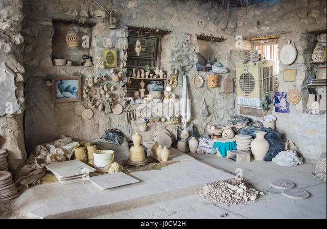 Interior of the A'ali Pottery Workshop, Bahrain - Stock Image