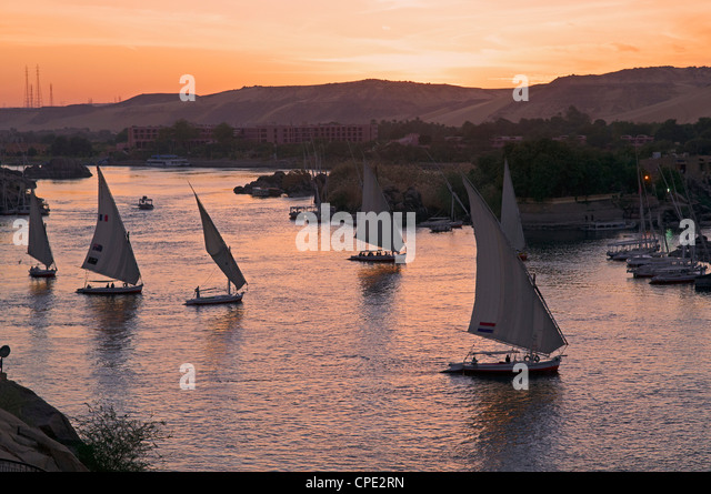 Feluccas on the River Nile, Aswan, Egypt, North Africa, Africa - Stock Image