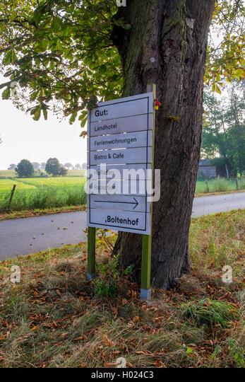 Gut Boltenhof Hotel & farm sign , Brandenburg, Germany - Stock Image