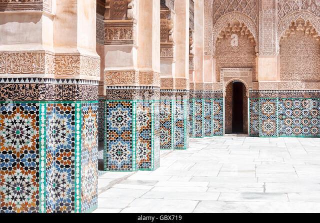 Beautiful handicraft work inside the koranic school Medersa Ben Youssef in Marrakech, Morocco. - Stock Image
