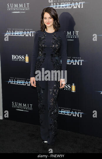 New York, NY, USA. 14th Mar, 2016. 14 March 2016 - New York, New York- Shailene Woodley. ''The Divergent: - Stock Image