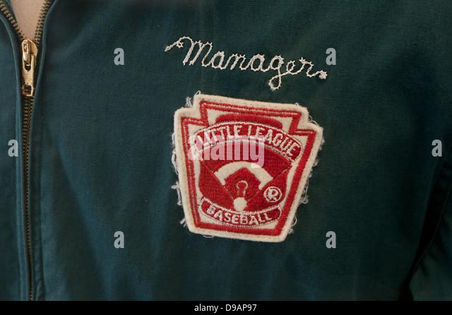 Little league baseball manager's jacket - Stock Image
