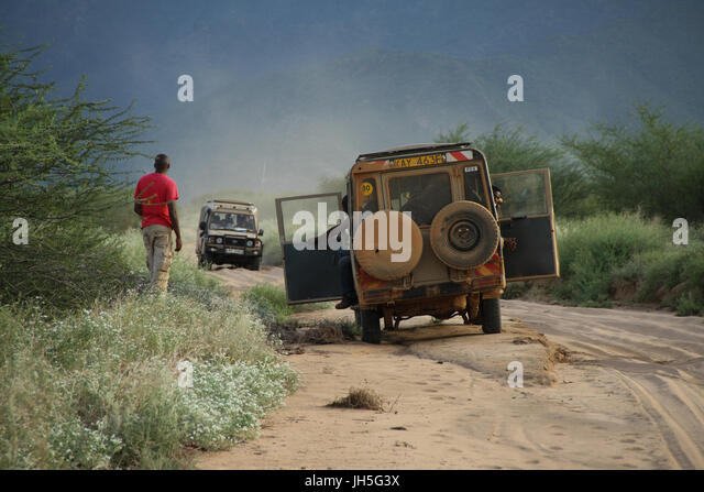 Marsabit KENYA - May 17. A convoy of land cruisers seen on the Isiolo to Marsabit on the way to Lake Turkana to - Stock Image