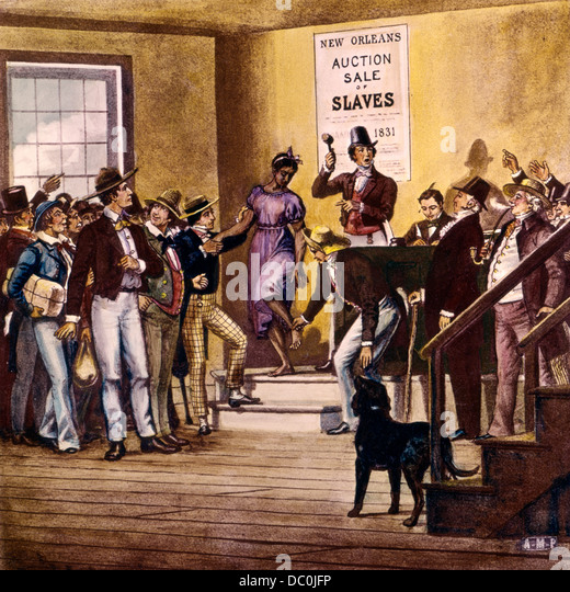 1830s 1831 ABRAHAM LINCOLN OBSERVING NEW ORLEANS SLAVE MARKET AUCTION SALE FROM HAND COLORED ANTIQUE GLASS LANTERN - Stock Image