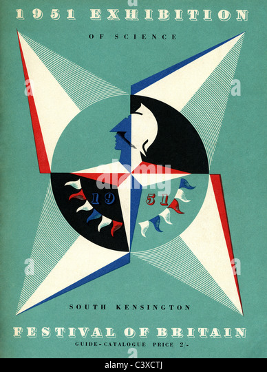 Cover of guide for 1951 Exhibition of Science held in South Kensington, part of The Festival of Britain, designed - Stock-Bilder