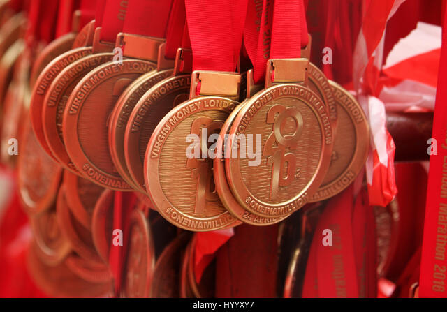 ​​​London, UK 24 April 2016. Virgin Money London Marathon medals awaiitng presentation a the Mall.​ © David - Stock Image