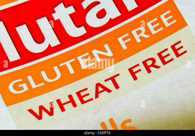 Food packet for gluten and wheat free pasta from Glutafin - Stock Image
