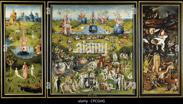 Hieronymus Bosch The Garden of Earthly Delights  1504 Prado museum - Madrid - Stock Image