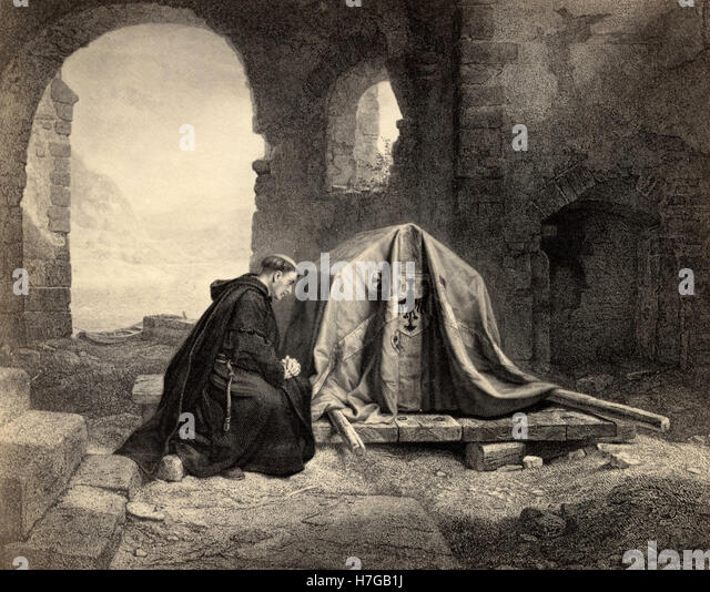 A priest with the arc, print - Stock Image