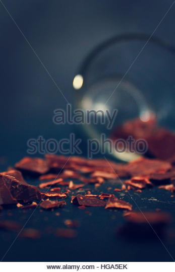 Dark chocolate crumbs. - Stock Image