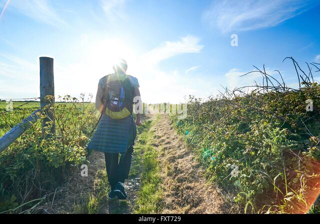Rear view of hiker with backpack hiking on path in field - Stock-Bilder
