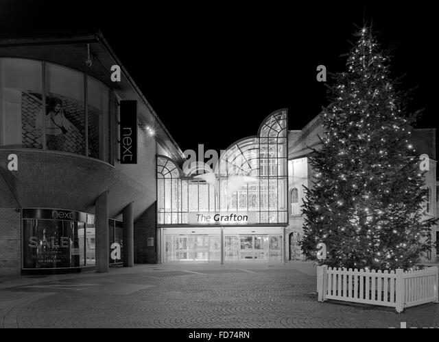 Christmas tree outside the Grafton Centre in Cambridge England - Stock Image