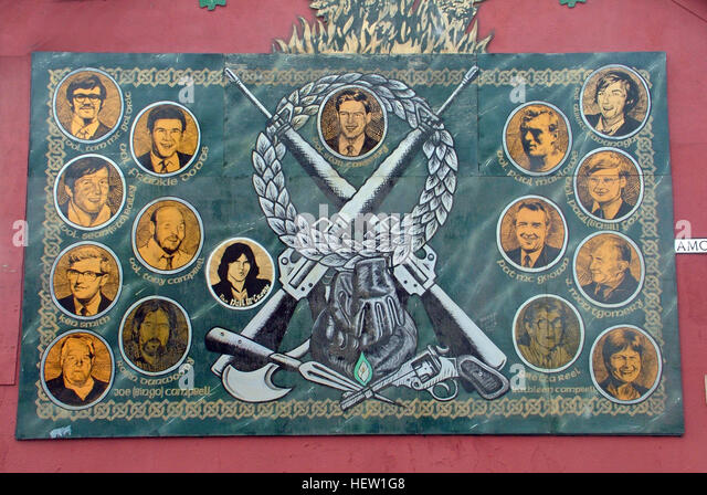 Belfast Falls Rd Republican Mural- Amcomri St resistance - Stock Image