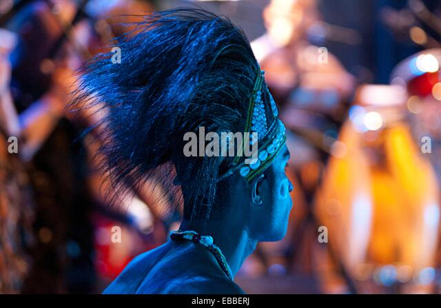 Indigenous performer/musician from Irian Jaya, Indonesia - Stock Image
