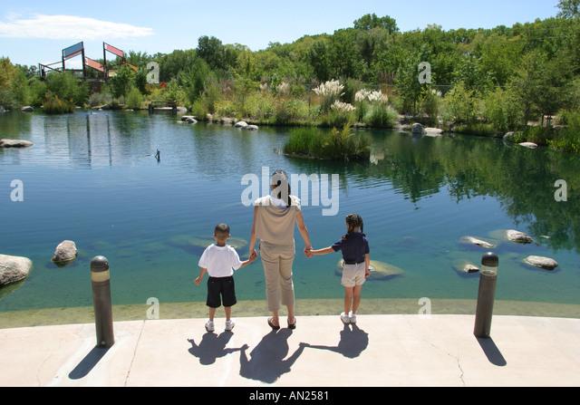 Albuquerque New Mexico Biological Park Rio Grande Botanic Garden Lake Butterfly Pavilion W - Stock Image