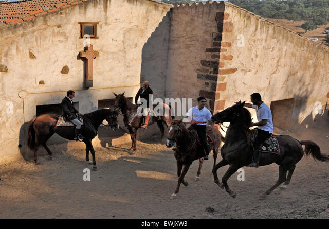 Sedilo,Sardinia,Italy, 6/7/2013.Famous Ardia traditional horse race take place every year in July around San Costantino - Stock Image