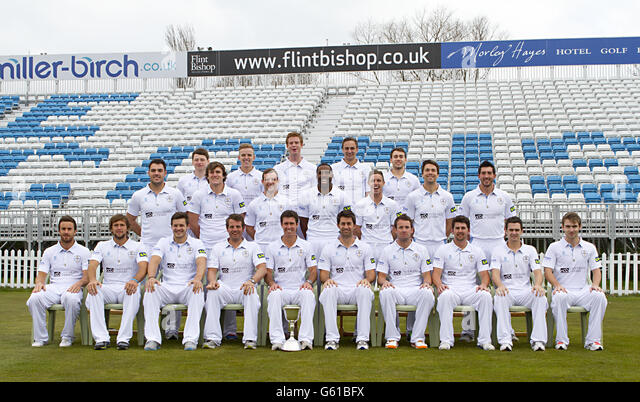 Derbyshire's back row (left-right) Chris Durham, Alasdair Evans, Matt Higginbottom, Ben Slater and Alex Hughes, - Stock Image