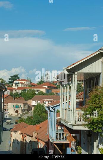 Georgien, Kachetien, Sighnaghi (Signachi, Signagi), typische Architektur im ostgeorgischem Stil. - Stock-Bilder
