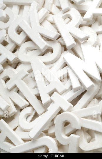 a lot of white letters - Stock Image