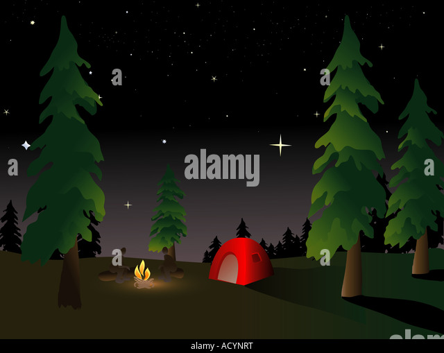 Camping in the wilderness under a summer night sky - Stock Image