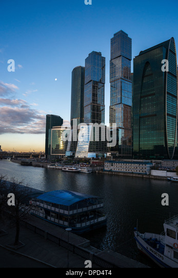 Morning view of Moscow City business centre - Stock-Bilder