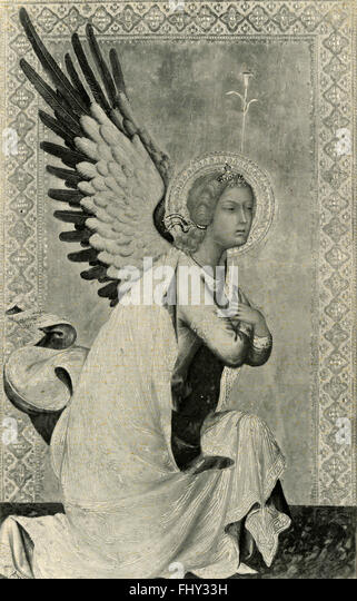The Angel of the Annunciation, painted by Simone Martini - Stock Image