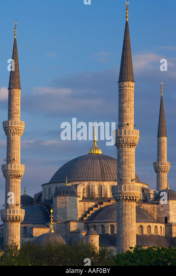 the minarets of the Blue Mosque Suntanahmet Istanbul Turkey - Stock Image