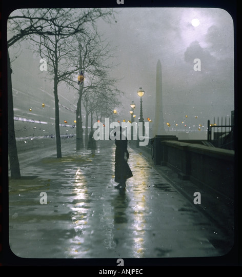 Embankment Lantern Slide - Stock Image