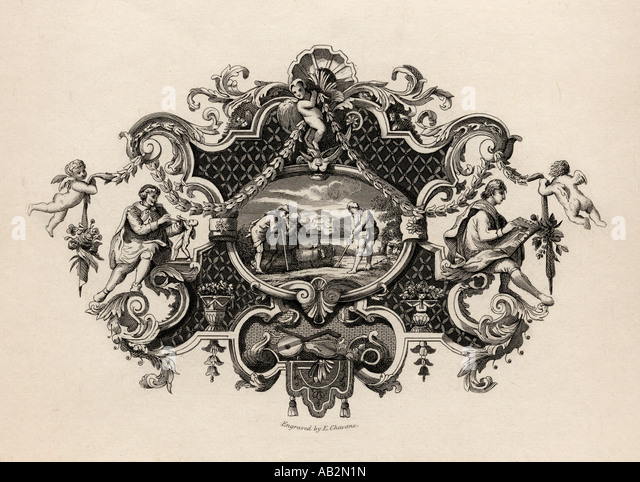 Impression from a silver tankard Designed by Hogarth - Stock Image