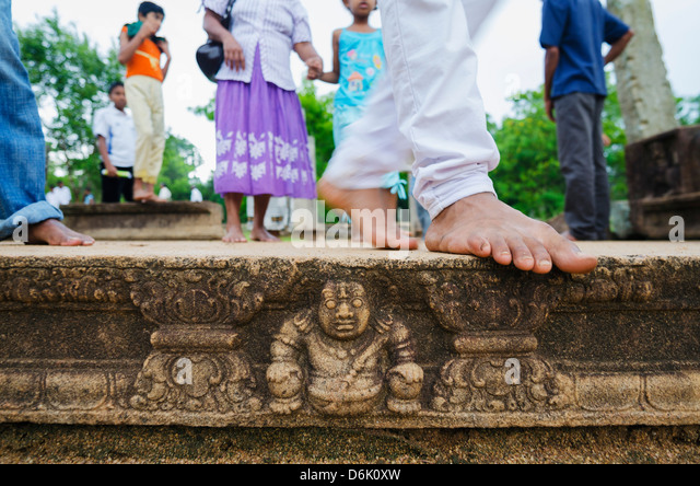 Carved steps detail, Mahasens Palace, Anuradhapura, UNESCO World Heritage Site, Sri Lanka, Asia - Stock Image