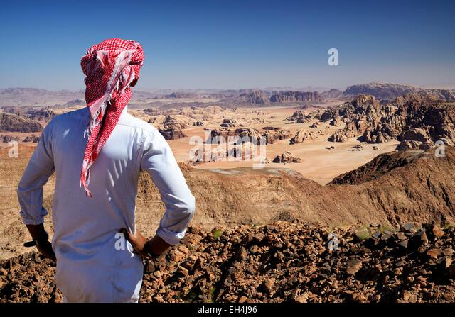 Jordan, Wadi Rum desert, border with Saudi Arabia, Bedouin and view from the summit of Jebel Umm Adaami (1832m), - Stock Image