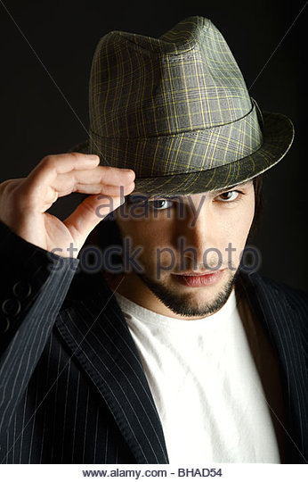 Portrait of a young guy with a cool hat - Stock-Bilder
