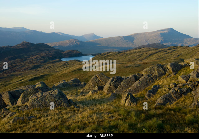 Moel Siabod from Ysgafell Wen in the Moelwyn range, Snowdonia, North Wales, UK - Stock Image