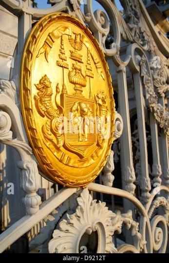 Bangkok Thailand Phra Nakhon Saranrom Park entrance gate gold seal - Stock Image