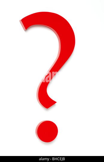 Red Question Mark, Shot from Above Left - Stock Image