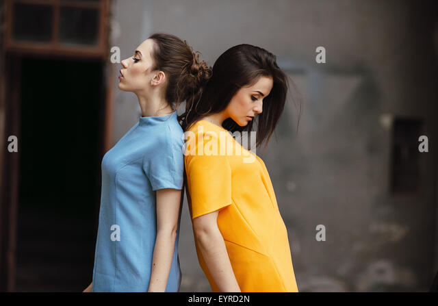 Two young beautiful girls - Stock Image