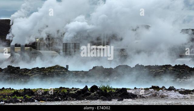 Geothermal Power Station Svartsengi in The Blue Lagoon Iceland - Stock Image