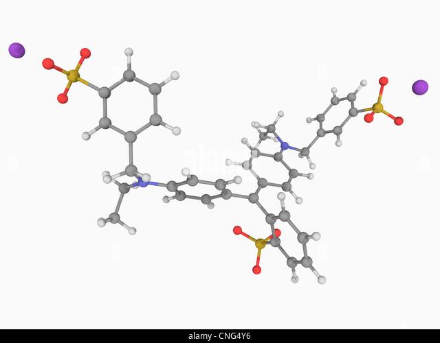 Brilliant blue FCF molecule - Stock Image