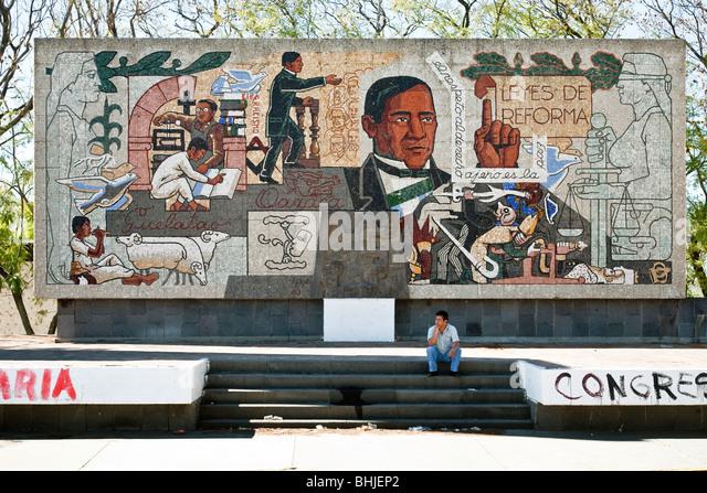 Mexican mural revolution stock photos mexican mural for Benito juarez mural