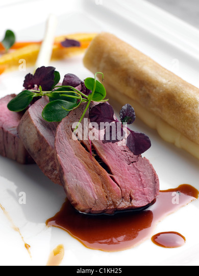 gourmet beef meal by Andy Taylor of Taylormade food - Stock Image